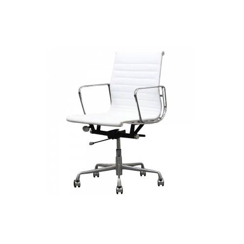 Manhattan Comfort Ellwood Mid Back Adjustable Office Chair In White MHFMC614WH