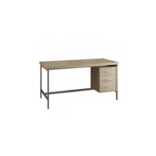 monarch furniture natural reclaimed look silver metal 60 l office